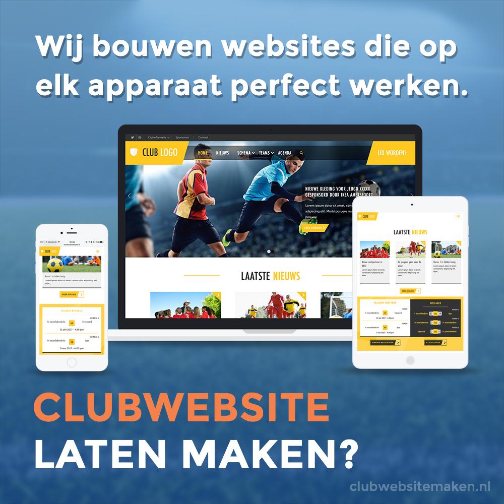 Responsive website voor uw voetbalclub, hockeyclub of tennisclub?